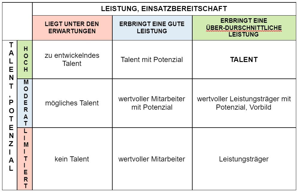 Talente, Leistung und Potenzial